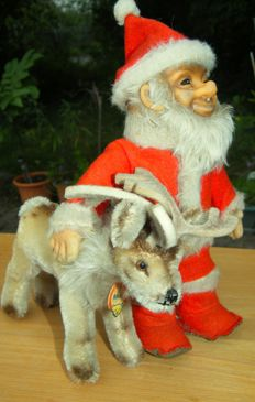 RARE* Steiff Santa Claus + Renny Rentier - Germany