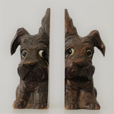 Art Deco hand carved wooden bookends - Scottish Terriers