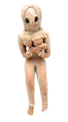 Indus Valley Terracotta Fertility Idol of Mother Goddess with a Baby  - 120 mm