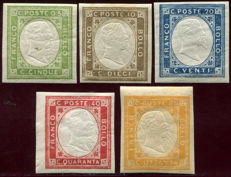 Italy, Kingdom 1861 - Napoli (Naples) not issued, complete series - Sass.  No. 1-5
