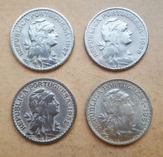 Portuguese Republic – 4 coins lot – 1 Escudo 1927, 1939, 1952 & 1961 . Above Average