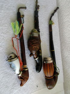 3 pipes, cut out of wood - Schwarzwald - original 1920.