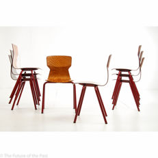Designer unknown, for Eromes - 8 OBO 6400 school chairs (lot 1)
