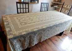 Extra long and wide Alençon panel tablecloth - Ivory beige colour - 328 x 184 cm, early 20th century