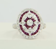 14 kt white gold ring in Art Deco style set with ruby and diamond, approx. 0.55 ct in total
