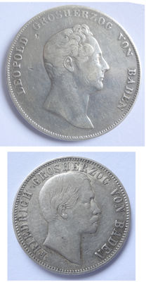 Old Germany, Baden   – Lot of 2 silver coins: 1 guilder 1838, 1/2 guilder 1862