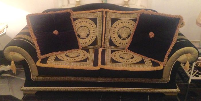 Black And Gold Versace Style Sofa Not Versace Catawiki