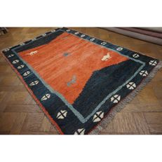 Wonderful Persian carpet Gabbeh wool on wool, Nomad work, made in Iran, natural colours 183 x 130cm