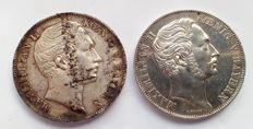 Germany, Bayern – Doppelgulden 1851 and 1855 Maximilian II (2 coins) – silver