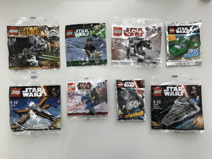 Star Wars - 30004 + 30274 + 30277 + 30278 + 30497 + Han Solo/Hoth + Tie Bomber Limited Edition + Flash Speeder Limited Edition - Rare Polybags