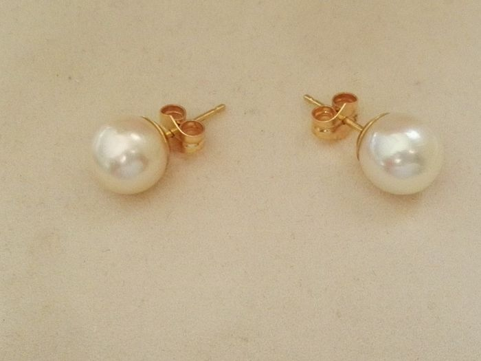 Earrings with Akoya pearls of Japan 8.5 - 9 mm and 18 kt yellow gold mount setting  No reserve