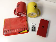 Ferrari, carbon fibre keyring, pair of mugs and large flag, mugs height 10 cm, diameter 8 cm, flag 1 m x 70 cm, 2015, Official Products
