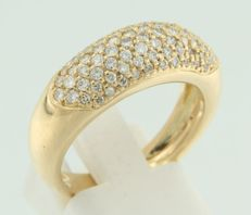 18 kt yellow gold ring set with 80 pave set brilliant cut diamonds - 1.00 carat - *** LOW RESERVE PRICE ***