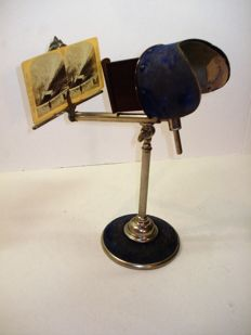 Antique table stereo observer, stereoscope for cards 9x18, heavy foot