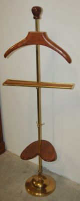Brass and Teak wood clothes-stand - H 140 cm