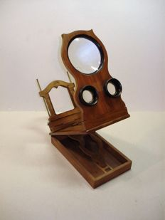 Antique table stereo observer, graphoscope for cards 9x18, precious wood