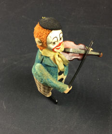 Schuco, Germany - Height: 11 cm - Clown 986/2 with violin, 1930s