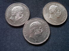 German Reich, Saxony - 3x 5 Mark 1895-1914 E - silver
