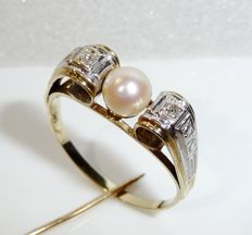 Antique ring 14t / 585 gold 1 genuine Akoya pearl + 2 diamonds, ring size 62 / 19.7mm **no reserve price**