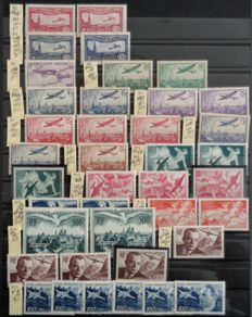 France 1930-2000 - Selection of ends of catalogue, Airmail, Postage Due, Pre-Cancelled and Postal Package with multiples.