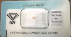 Natural Fancy Pink - Brown Diamond 0.13 ct  with IGI cert *** no minimum price***