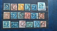 Netherlands 1852 - selection of half-round stamps on first emission