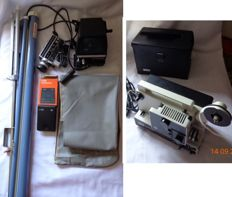 Eumig film projector, Yashica film camera, Raynox film viewer, Agfa splicer, Simplex projection screen