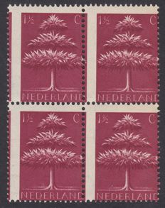 The Netherlands 1943 - German symbols misprint - NVPH 406 in block of four with significantly shifted perforation