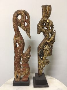 2 Beautiful Wooden Dragons. Mandalay period - Burma - 19th century.
