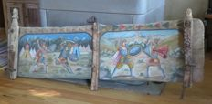 Sicilian wagon bulkhead with polychrome painting of Christians and Moors - Ca. 1900