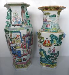 Two hexagonal famille rose vases – China – late 20th century