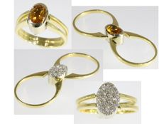 Seventies vintage ring with two interchangeable top parts, either with diamonds or citrine