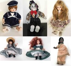 Anne Doll + Clown Doll + Rose Doll + 3 small dolls, all made of porcelain