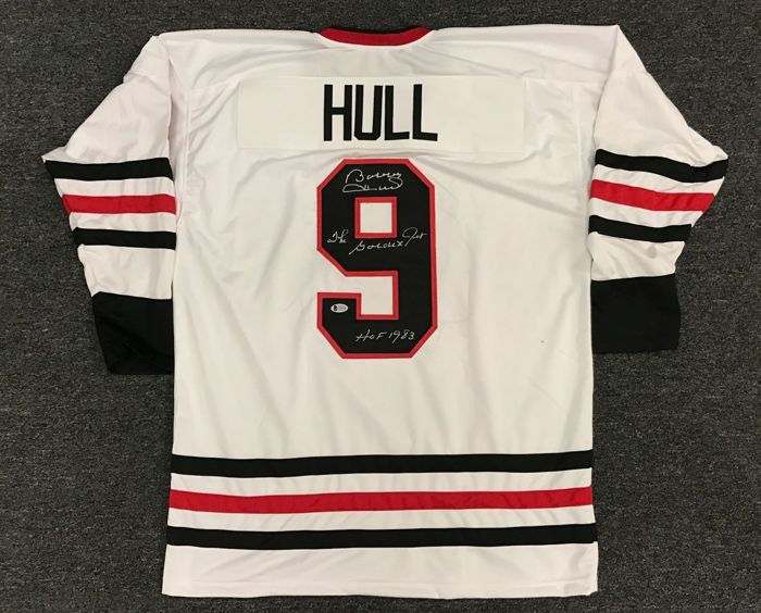 low priced e25ef 02557 Legend of Hockey Bobby Hull The Golden Jet #9 Signed NHL Blackhawks Jersey  HOF 1983 AUTO BAS Authenticated Certificate Of Authenticity COA Autographed  ...