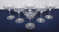 6 Baccarat crystal champagne glasses, model Epron of the 1916 catalogue