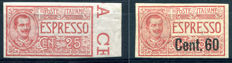Italy, Kingdom 1903-1922 - Express Mail without perforation - Sass.  No.  1a and 6k
