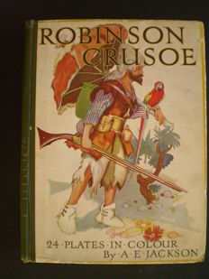 Daniel Defoe; Lot with 2 editions of the adventures of Robinson Crusoe - c. 1910 / 1950
