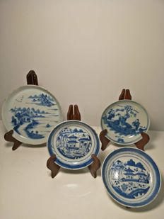 4 blue and white porcelain plates - China, 19th century.