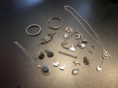 vintage silver collection done really nice rare items cufflinks charm bracelet brooches