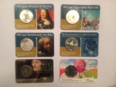 The Netherlands - 2 Euro 2011 Erasmus & 5 Euro 2004 up to 2012 in coin cards (5 pieces)
