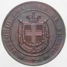 Kingdom of Italy - 2 Centesimi coin, 1859 - Vittorio Emanuele II 'Re Eletto', variety with grooves
