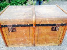 Old wood, ironfitted and jutecovered cabin trunk, Netherlands, 1930s