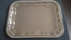 Impressive silver plated serving tray with floral decorated bottom, French,