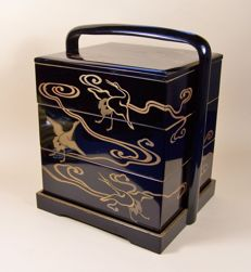 A high-quality dark brown lacquer ware on wood ('urushi') five-part lunch box ('jubako') - Japan - ca 1925 (Taisho / Showa period)