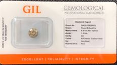 Diamond of 1.16 ct - natural fancy intense greyish yellow - SI2 - no treatment - No Reserve Price