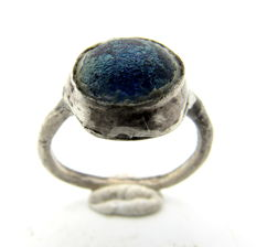 Medieval - Viking Era - Silver Ring with Blue Stone in Bezel - 16 mm