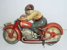 Technofix, US Zone Germany - L. 15 cm - tin motorcycle GE-258 powered by clockwork - 1950s