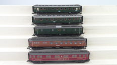 Fleischmann H0 - 5078/5080/5081/5082/5083 - Five express train carriages of the DRG and Mitropa