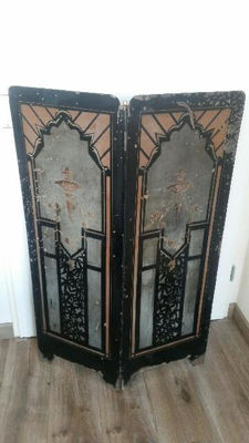 Old Fireplace screen/room screen in Art-Deco style, Netherlands, part 20th century