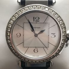 Cartier Pasha 18 kt solid white gold diamonds - Men